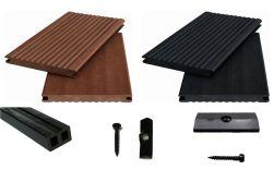 WPC Komplettset WoodoXXL ( 20 x 200 mm) in braun / anthrazit beinhaltet WPC Diele, Unterkonstruktion, Verbindungsclipse, Anfang- und Endclip