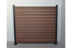 Komplettset WPC Zaun /  Sichtschutz / Steckzaun, braun 1690 mm (Höhe) 20 mm (Stärke) x 1800 (Breite) mm, Zaunhöhe inkl. Start und Abschlussprofil mit Alumittelschiene (Serie WoodoAmmeland ohne Pfosten)