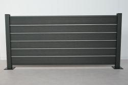 Komplettset WPC Zaun /  Sichtschutz / Steckzaun, anthrazit 900 mm (Höhe) 20 mm (Stärke) x 1800 (Länge) mm, Zaunhöhe inkl. Start und Abschlussprofil mit Alumittelschiene (Serie WoodoAmmeland ohne Pfosten)