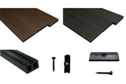 WPC Komplettset WoodoBasic in braun oder anthrazit beinhaltet WPC Diele Unterkonstruktion, Verbindungsclipse, Anfang- und Endclip