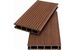 WPC Hohlkammerdiele WoodoKorfu, 20 x 120 mm, 5 Meter lang, rehbraun, geriffelt / glatt, beidseitig begehbar
