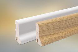 Sockelleiste Eiche furniert für Parkett und Massivholzdielen, 60 x 22 mm, 240 cm lang, klar oder weiß lackiert