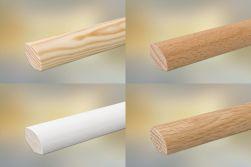 Sockelleiste für Parkett und Massivholzdielen, 20 x 20 mm, klar lackiert, fallende Längen 100 - 290 cm