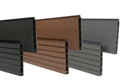 WPC Zaun /  Sichtschutz / Steckzaun, 20 x 150 x 1800 mm, Einfaches Modulares Zaunsystem in braun, anthrazit oder grau (Serie WoodoTexel)